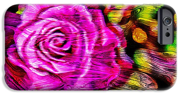 Pink Roses iPhone Cases - Distorted Romance iPhone Case by Az Jackson