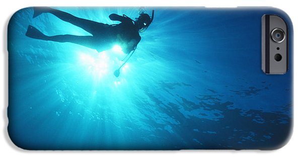 Free-diver iPhone Cases - Diver On Mahi Wreck iPhone Case by Bob Abraham - Printscapes