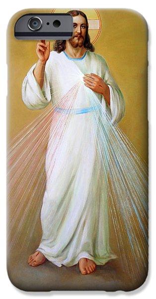 Supernatural Digital Art iPhone Cases - Divina Misericordia. Divine Mercy iPhone Case by Svitozar Nenyuk