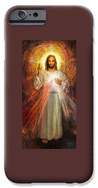 Divine Mercy iPhone Cases - Divine Mercy - Sacred Heart of Jesus 1 iPhone Case by Terezia Sedlakova Wutzay