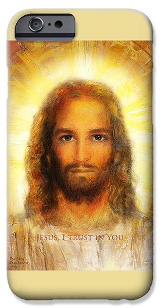 Divine Mercy iPhone Cases - Divine Mercy - Sacred Heart of Jesus 3 iPhone Case by Terezia Sedlakova Wutzay