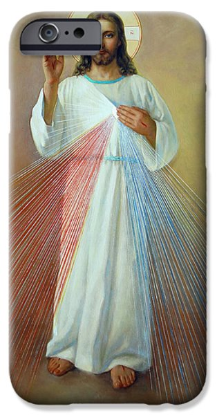 Holiday Digital Art iPhone Cases - Divine Mercy. Jesus I Trust in You iPhone Case by Svitozar Nenyuk