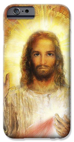 Divine Mercy iPhone Cases - Divine Mercy - Sacred Heart of Jesus 4 iPhone Case by Terezia Sedlakova Wutzay
