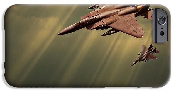 Threatening iPhone Cases - Diving Eagles iPhone Case by Meirion Matthias