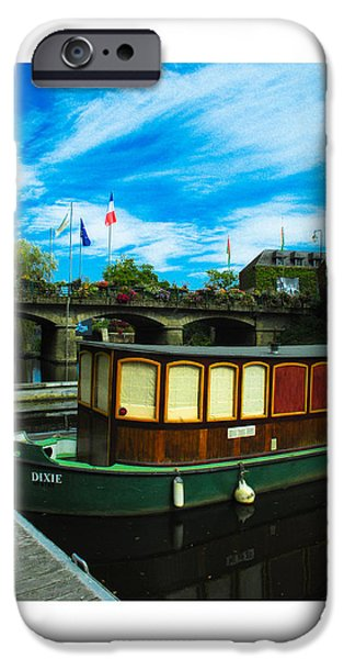 Boat iPhone Cases - Dixie is waiting on La Gacily canal. iPhone Case by Antonio Costa