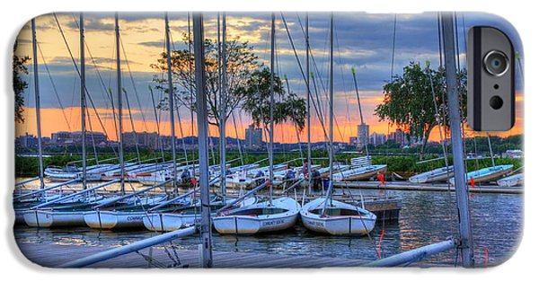 River iPhone Cases - Docked Sailboats at Sunset - Boston iPhone Case by Joann Vitali