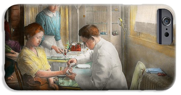 Daughter Gift iPhone Cases - Doctor - Applying first aid - 1917 iPhone Case by Mike Savad