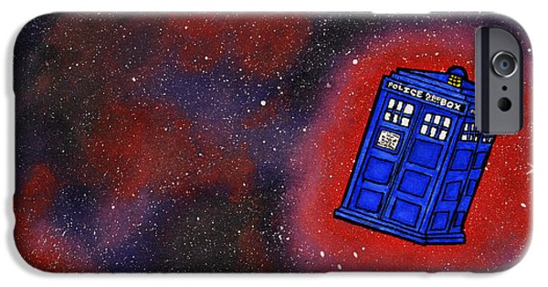 Outer Space Drawings iPhone Cases - Police Box in Space iPhone Case by Briana Campbell