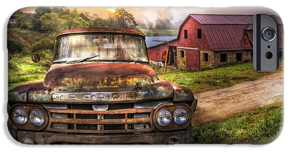 Old Cars iPhone Cases - Dodge at the Farm iPhone Case by Debra and Dave Vanderlaan