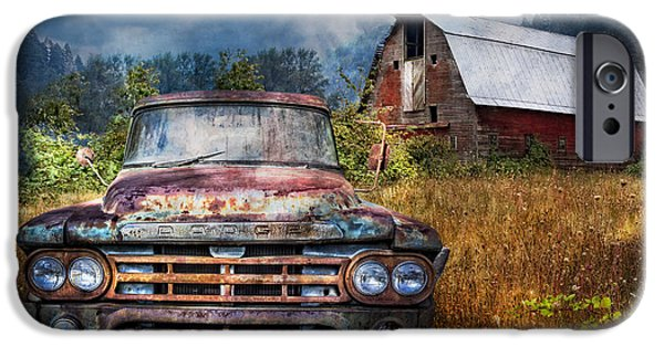 The Horse iPhone Cases - Dodge Truck on the Farm iPhone Case by Debra and Dave Vanderlaan