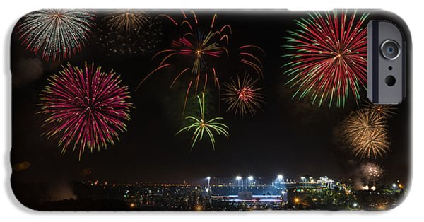 July 4th iPhone Cases - Dodgers Stadium 4th of July iPhone Case by Braden Moran