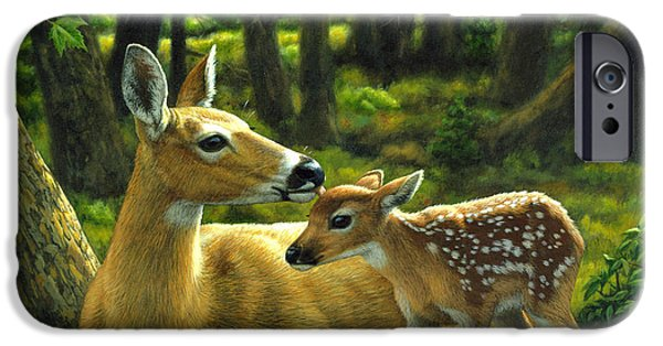 Whitetail Deer iPhone Cases - Doe and Fawn iPhone Case iPhone Case by Crista Forest