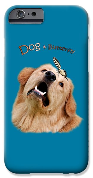 Playful Digital iPhone Cases - Dog And Butterfly iPhone Case by Christina Rollo