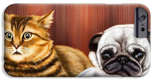 Dogs iPhone Cases - Dog and Cat watching TV iPhone Case by Arun Sivaprasad