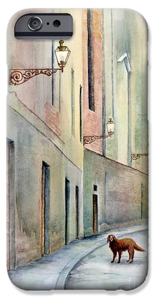Alley Paintings iPhone Cases - Dog Days of Vicenza iPhone Case by Amy Kirkpatrick