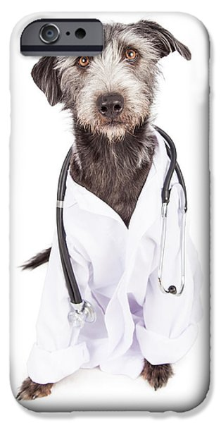 Mutt iPhone Cases - Dog Dressed As Veterinarian iPhone Case by Susan  Schmitz