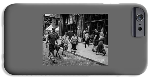Dave iPhone Cases - Dog in a Crowd iPhone Case by Dave Hood