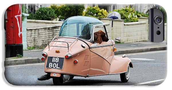Dogs iPhone Cases - Dog in a Messerschmitt Bubble Car iPhone Case by Simon Dack