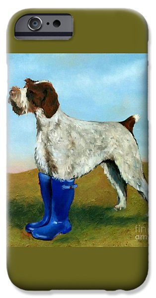 Dog In Landscape iPhone Cases - Dog in Wellies iPhone Case by De Selby