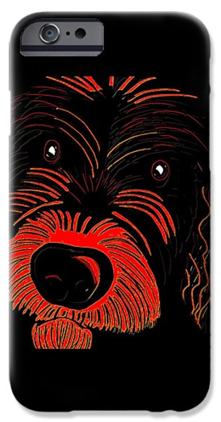 Puppies Digital Art iPhone Cases - Dog iPhone Case by Karen Harding