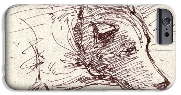 Animal Drawings iPhone Cases - Dog Nap iPhone Case by Nato  Gomes