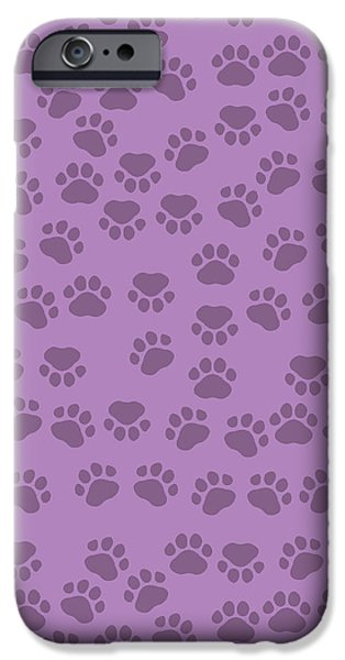 Puppy Digital iPhone Cases - Dog Paws in Purple Color on Purple Background iPhone Case by Jelena Ciric