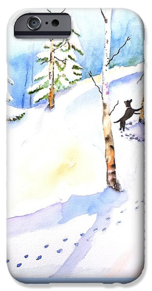 Dogs In Snow. Paintings iPhone Cases - Dog Play in Snow Forest iPhone Case by Carlin Blahnik