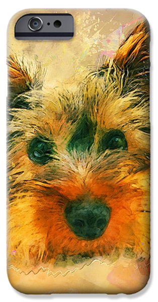 Yorkshire Terrier Watercolor iPhone Cases - Dog yorkshire terrier art iPhone Case by Justyna JBJart