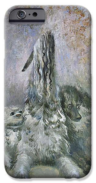 Gray Hair iPhone Cases - Doggies  iPhone Case by Valentina Kondrashova