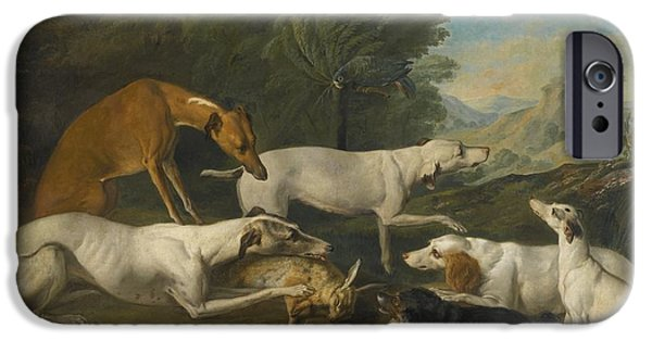 Dog In Landscape iPhone Cases - Dogs In A Landscape With Their Catch iPhone Case by Jacques-Charles Oudry