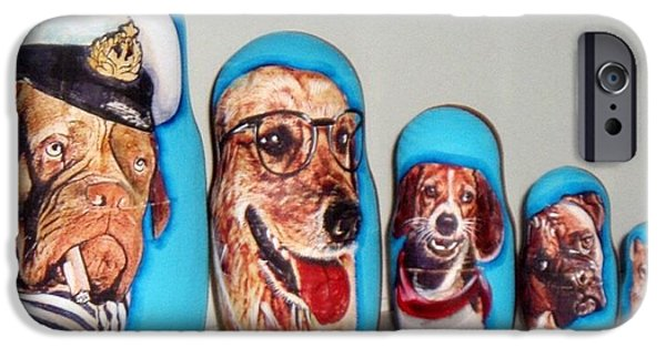 Dog Sculptures iPhone Cases - Dogs Nesting doll iPhone Case by Viktoriya Sirris
