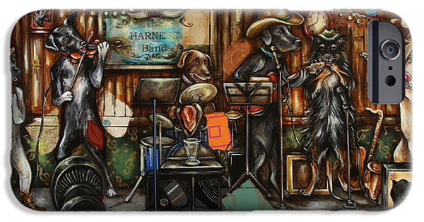 Chocolate Lab Mixed Media iPhone Cases - Dogs Playing Music iPhone Case by Katia Von Kral