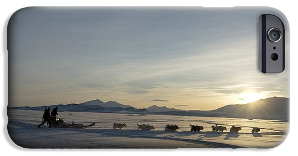 Huskies Photographs iPhone Cases - Dogsledge, Northern Greenland iPhone Case by Louise Murray