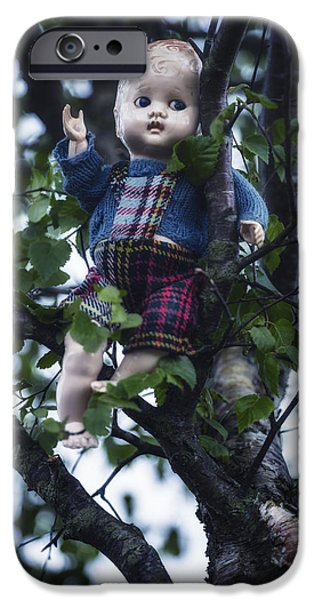 Creepy iPhone Cases - Doll In Tree iPhone Case by Joana Kruse