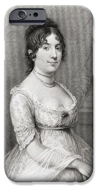 First Lady Portrait Drawings iPhone Cases - Dolley Payne Todd Madison 1768 To 1849 iPhone Case by Vintage Design Pics