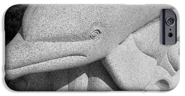Child Sculptures iPhone Cases - Dolphin Granite B W  iPhone Case by Rob Hans