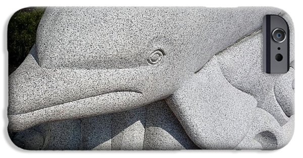Child Sculptures iPhone Cases - Dolphin Granite iPhone Case by Rob Hans