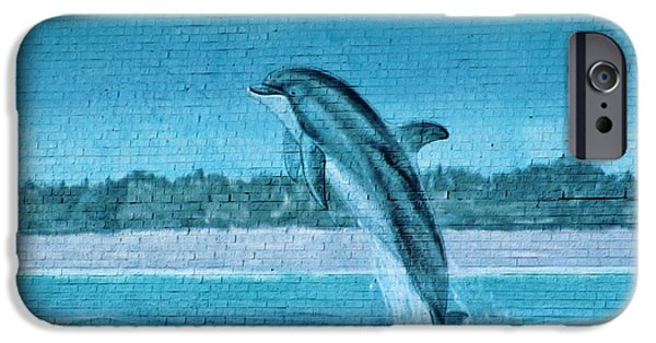 Marine iPhone Cases - Dolphin Mural iPhone Case by Cynthia Guinn