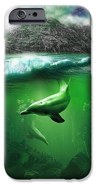 Ruin Mixed Media iPhone Cases - Dolphins iPhone Case by Svetlana Sewell
