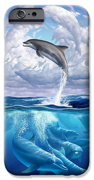 Clouds iPhone Cases - Dolphonic Symphony iPhone Case by Jerry LoFaro
