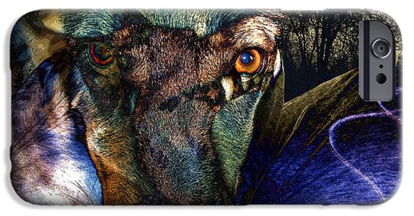 Dogs Digital Art iPhone Cases - Domesticated iPhone Case by Ron Bissett
