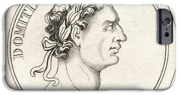 Flavius iPhone Cases - Domitian Titus Flavius Domitianus 51ad iPhone Case by Vintage Design Pics