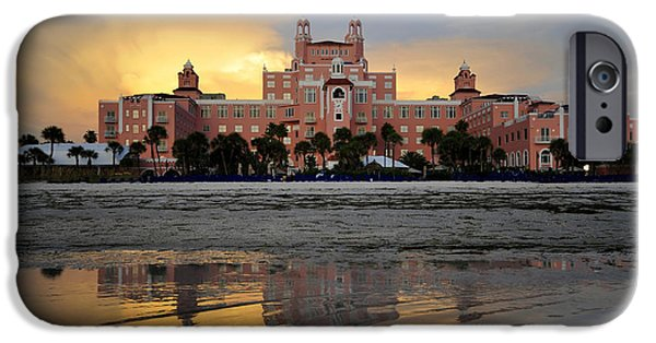 St. Petersburg iPhone Cases - Don Cesar reflection iPhone Case by David Lee Thompson