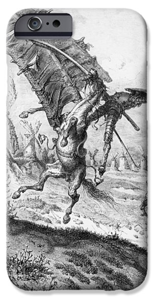 Don Quixote iPhone Cases - Don Quixote and the Windmills iPhone Case by Gustave Dore