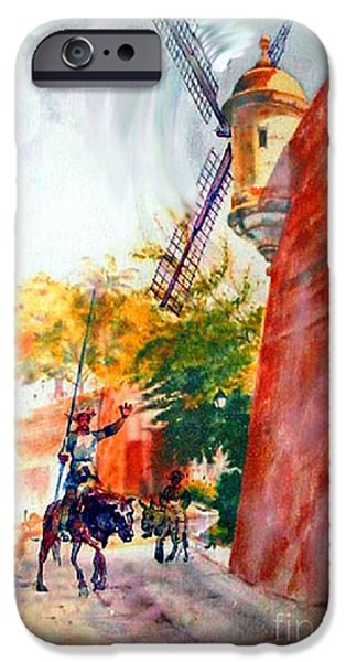 Tropical Paintings iPhone Cases - Don Quixote in San Juan iPhone Case by Estela Robles