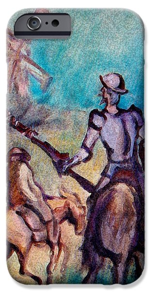 Don Quixote iPhone Cases - Don Quixote with Windmill iPhone Case by Kevin Middleton