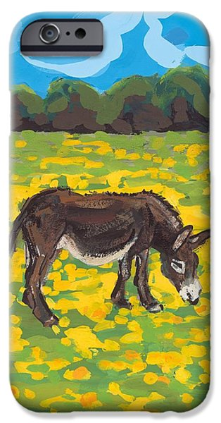 Donkey iPhone Cases - Donkey and Buttercup Field iPhone Case by Sarah Gillard