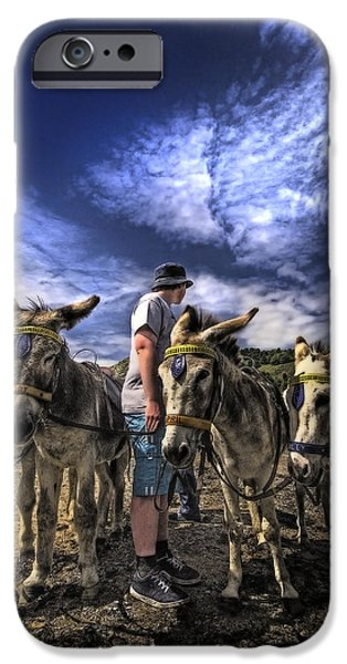 Pleasure iPhone Cases - Donkey Rides iPhone Case by Meirion Matthias