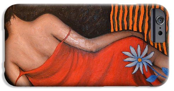 Obama iPhone Cases - Donna in rosso con fiore azzurro iPhone Case by Riccardo Maffioli