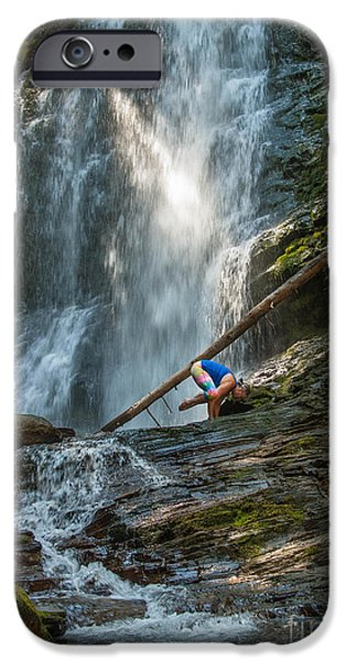 Crows iPhone Cases - Yoga at Fletcher Falls iPhone Case by Joy McAdams